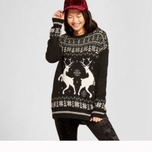 Mossimo Reindeer Ugly Christmas Sweater Black L